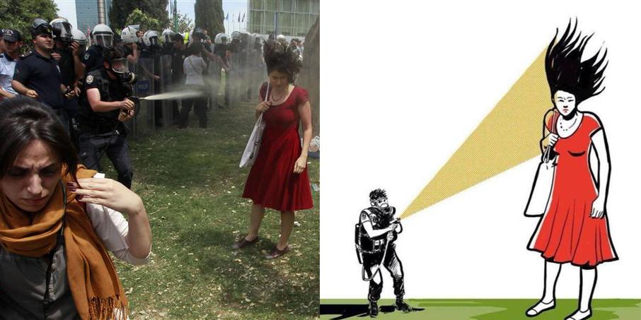"""""""Дівчина у червоному платті"""" - символ протестів у Гезі парку"""